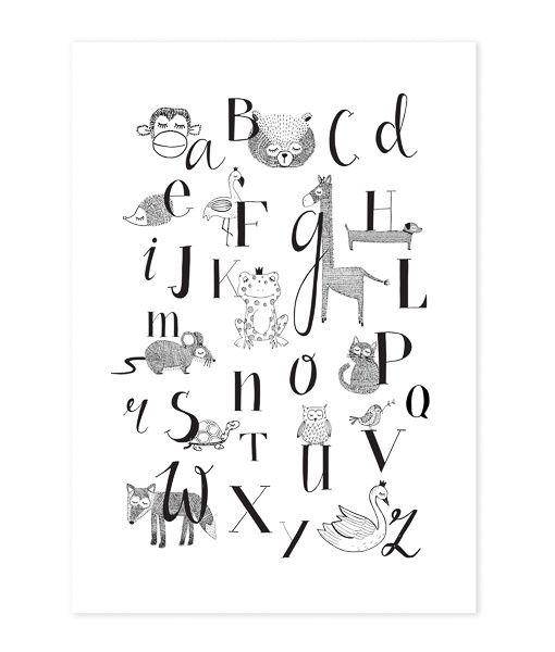 Poster Dieren ABC A3 Deze poster met dieren ABC is gedrukt op luxe structuurpapier van dikke kwaliteit. Daarom is de poster niet alleen mooi in een lijst, maar ook om met een leuk plakkertje op de muur te plakken! Illustratie: Mijksje. Ook verkrijgbaar als ansichtkaart.