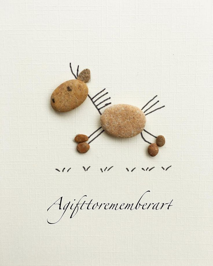 Cute horse handmade pebble card