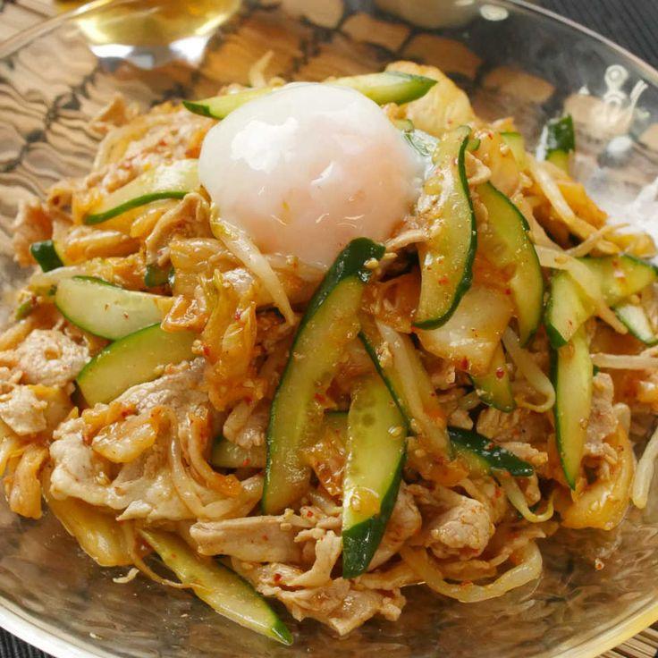 レンチン和えるだけ!もやしときゅうりの冷やし豚しゃぶキムチ - macaroni
