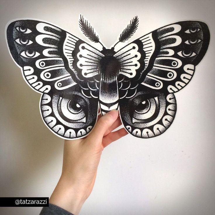 Giant Temporary Tattoos Dotwork Polyphemus Moth by Tatzarazzi feat. Anna Boccato #TemporaryTattooRemoval #RemoveTattooTat