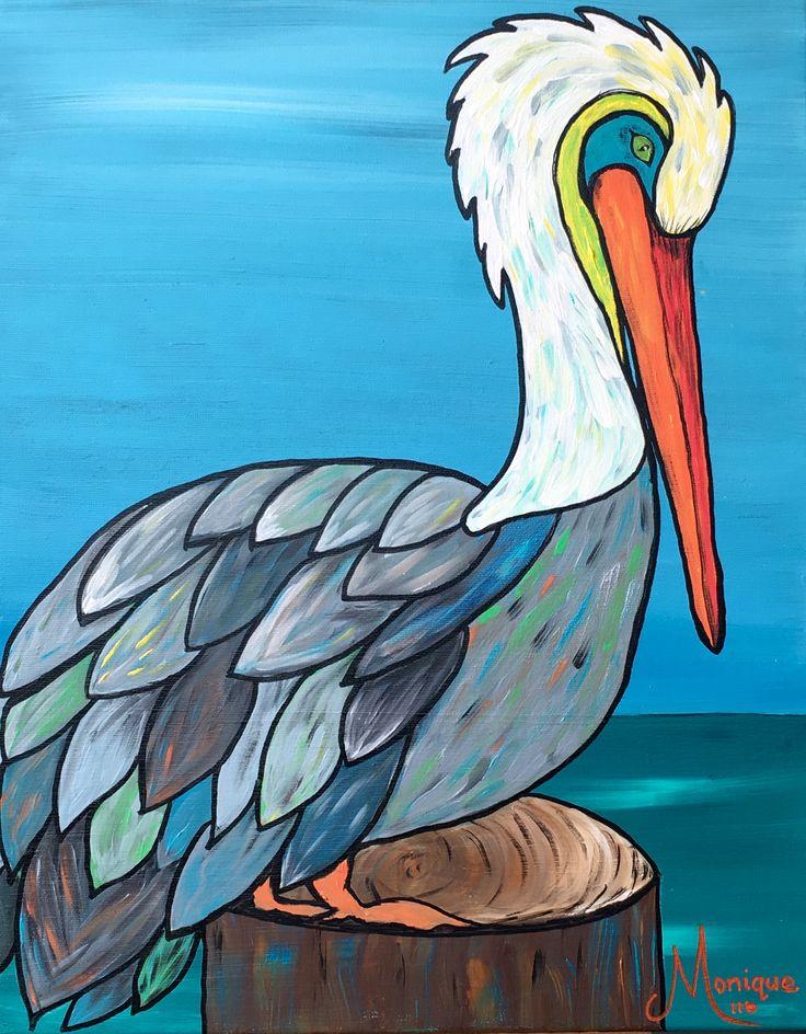 Perched Pretty Pelican #glitzoncanvas