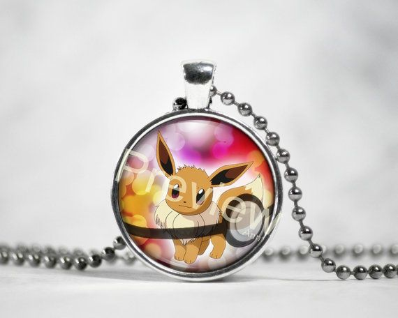 Eevee Pokemon Pendant Pokemon Necklace with ball by PokemonyByAnn