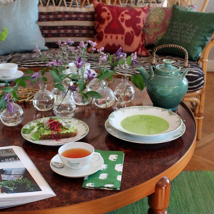 Interior and picks of the spring menue in Svenskt Tenn's Tea Room.