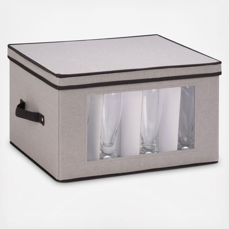 Store up to 12 goblet-style stemware glasses in this 17 x 13.5 inch storage box. The clear view window lets you easily see the contents while the lift off lid simplifies access. Protective inserts help safeguard against chips or scratches. Remove the glassware inserts and this storage box turns into a great closet organization tool. Store sweaters, linens, blankets, or seasonal clothing. In classic off-white with brown accents, this stackable storage box will instantly upgrade any pantry or…
