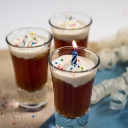 Birthday Cake Shots - cute birthday party idea for alcohol...or just use juice! Video tutorial included on the blog.