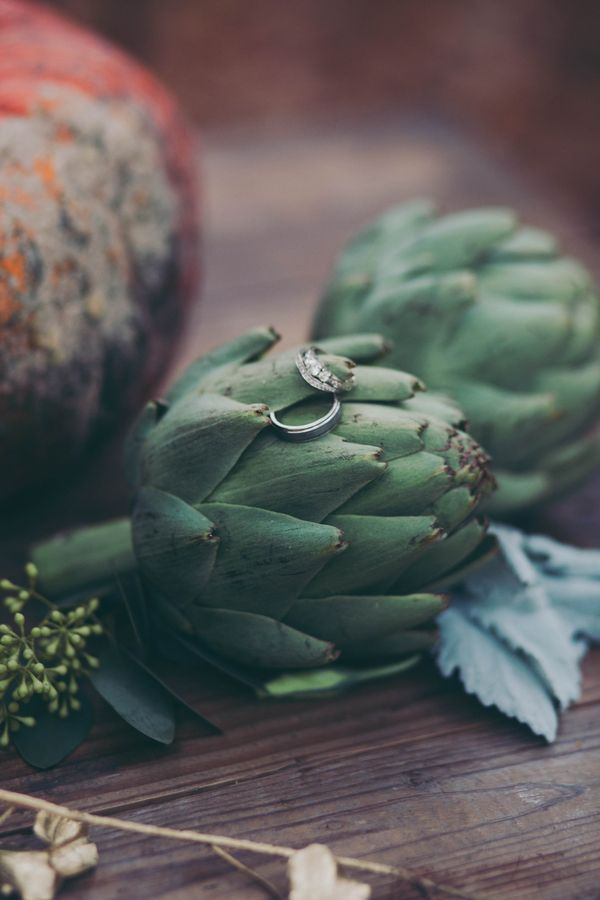Bride and Groom's Rings on a Foraged Farm Table | Mintwood Photo Co. | A Forest Fairy Tale Anniversary Shoot with a Bohemian Picnic