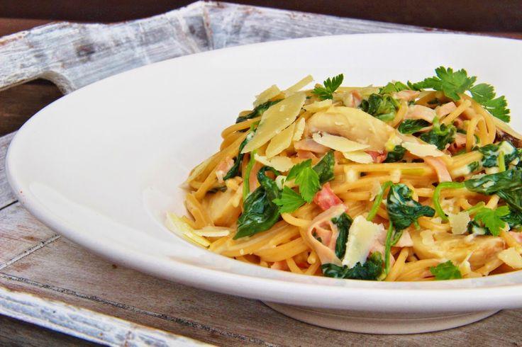 V kuchyni vždy otevřeno ...: Těstoviny s omáčkou ze špenátu a čerstvého smetano...