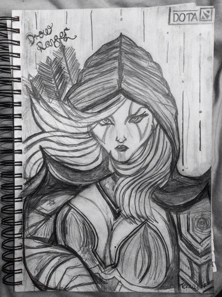 """My sketch of Drow Ranger, lady kickass from DOTA2. """"I walk alone, but the shadows are company enough."""" I drew this for my brother for his 25th birthday today. He's just slightly dota obsessed."""