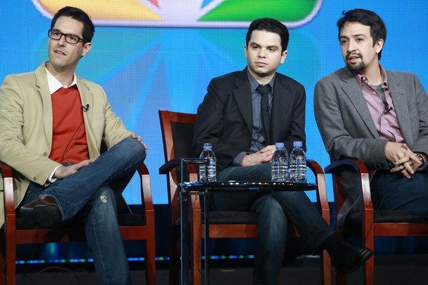 EP David Schulner, Samm Levine and Lin-Manuel Miranda at the Do No Harm panel