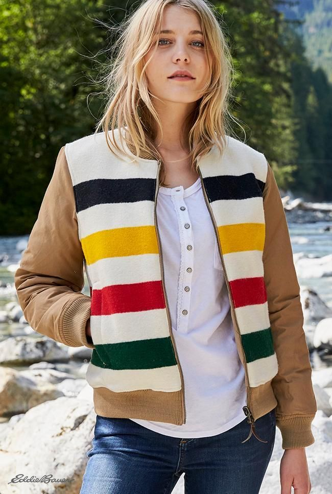 Women's Eddie Bauer X Pendleton 1936 Skyliner Model Jacket | Limited Edition reversible design. One side is cotton/nylon in our signature diamond quilting with Premium Down insulation; one side is Pendleton wool in their traditional National Park stripe, celebrating the parks' 100th Anniversary. Each stripe pattern is inspired by the colors and appearance of a specific park. Five percent of the net proceeds from each jacket goes to the National Park Foundation.