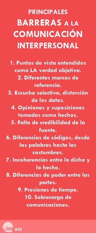 Barreras de comunicación. Los puntos 7 y 8 son los que