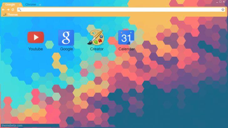Flat Hexagon Minimalist Colorful Chrome Theme - ThemeBeta