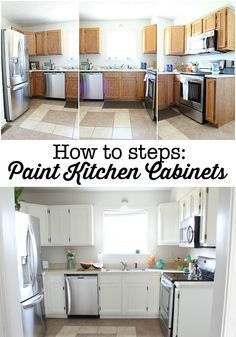 How to steps - paint your kitchen cabinets. Affordable way to fix up your dated kitchen! Using Sherwin Williams Dove White - no brush strokes!: