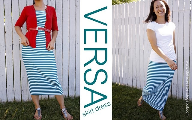"A lot easier than the ""infinity dress"" but still SUPER CUTE! Make one item and wear it as a skirt OR a dress - she calls it a VERSA skirt/dress."
