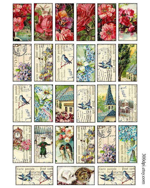 cartoline d'epoca 1 x 2 pollici domino tile immagini di 300dpi