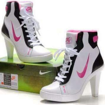Womens Nike SB Heels High White / Black - Pink ::I seriously think I might  want these.