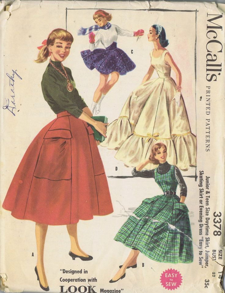 50s VINTAGE JUMPER DRESS SEWING PATTERN MCCALLS 3378 SZ 14 BUST 32 HIP 38 UNCUT | eBay
