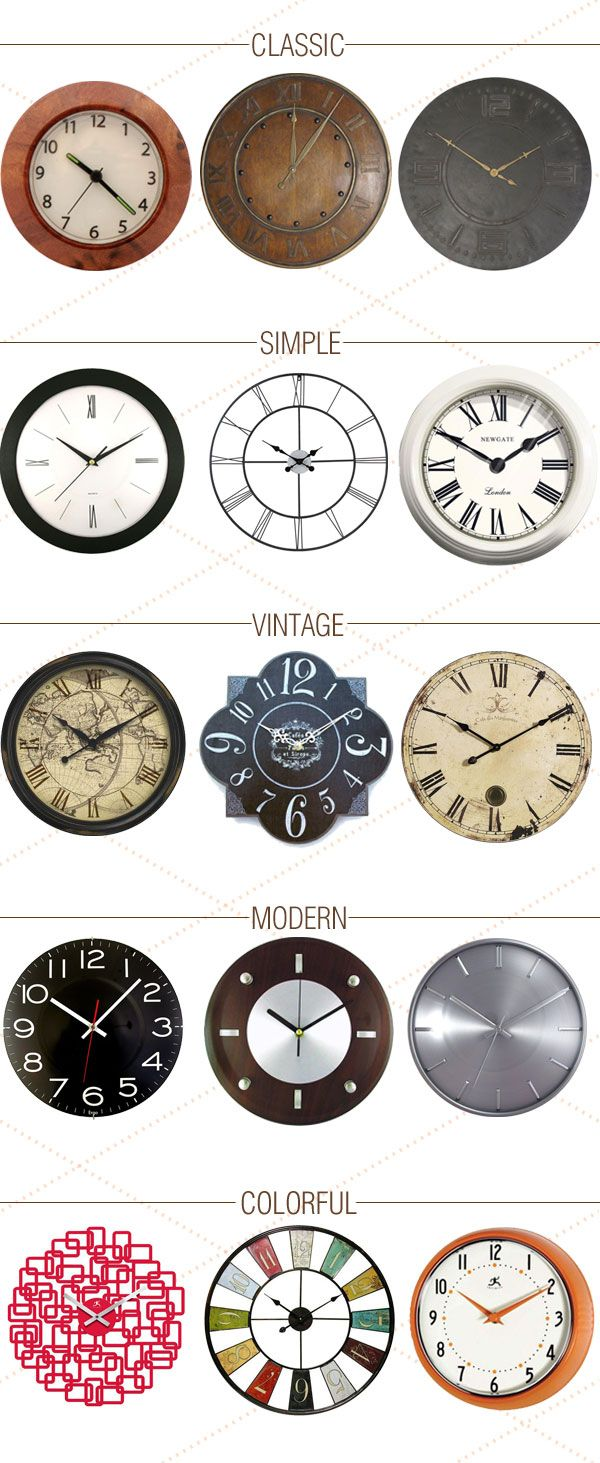 An inspiration board rounding up various decorative wall clocks