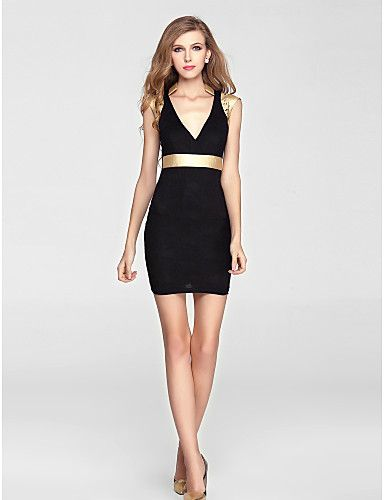 Cocktail Party Dress - Black Sheath/Column V-neck Short/Mini Knit – CAD $ 55.59