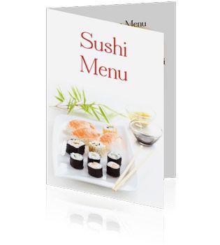 Een sushi menukaart maken of sushi menu online bestellen. Een prachtige menukaart voor restaurants of gewoon voor thuis.