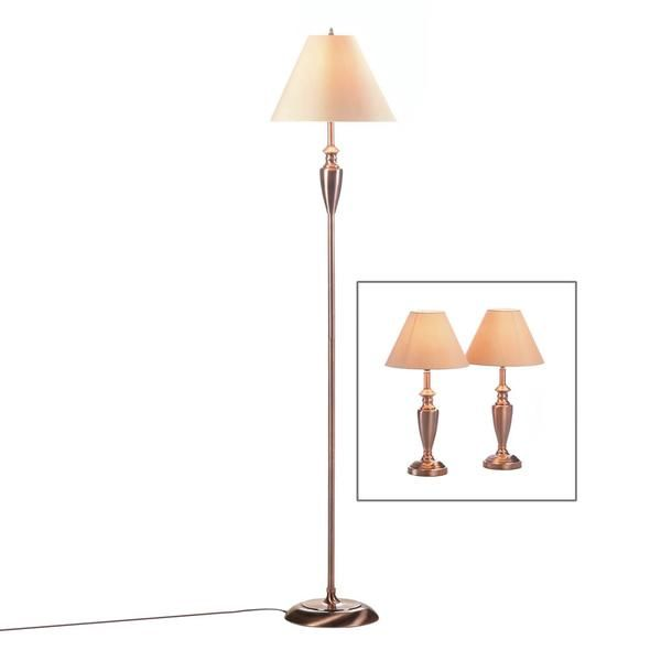 This trio of fantastically designed lamps will fill your room with the warm sheen of rich copper. Two table lamps and a tall floor lamp are topped with neutral
