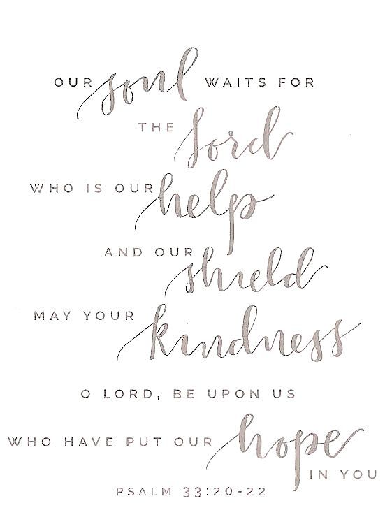 Psalm 33:20-22  Our soul waits for the Lord, who is our help and our shield. May your kindness, O Lord, be upon us who have put our hope in you.