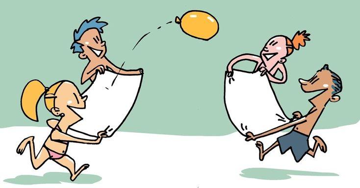"""""""Toalha ball"""": para fazer esse jogo, que precisa de quatro jogadores, bastam duas toalhas e uma bexiga cheia de água. Formam-se duas duplas, cada uma ganha uma toalha. Esta deve ser segurada pelos participantes, cada um em uma ponta. O objetivo da brincadeira é, sem tocar na bexiga ou derrubá-la no chão, jogá-la de uma toalha para a outra."""