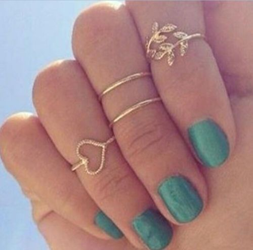 4PCS-Set-Rings-Urban-Gold-Plated-Crystal-Plain-Above-Knuckle-Ring-Band-Midi-Ring