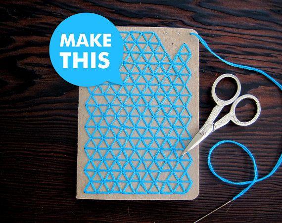 Cuadernos de bolsillo bordado Teal DIY