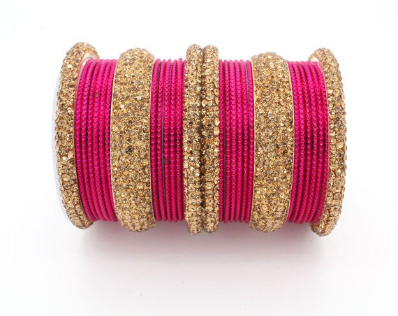 30 Hot Pink Gold Diamante Indian Bangles Indian Churi Bollywood Kangan Mirror…