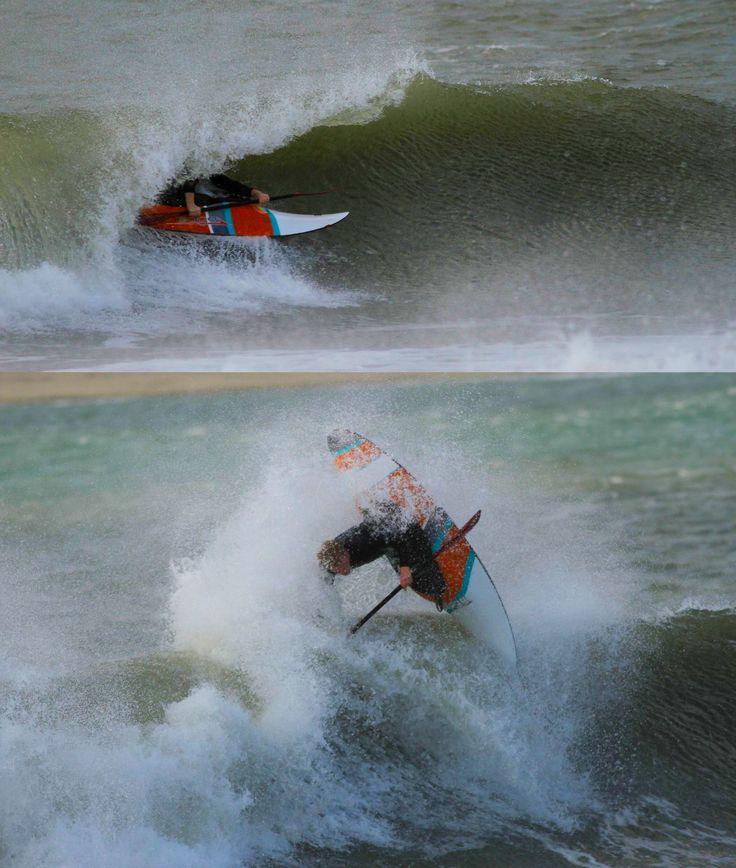 Aidan Brackenbury kayaksurfing,  tearing up some North Devon waves in June 2017 - Thanks Glyn Brackenbury for the pics.