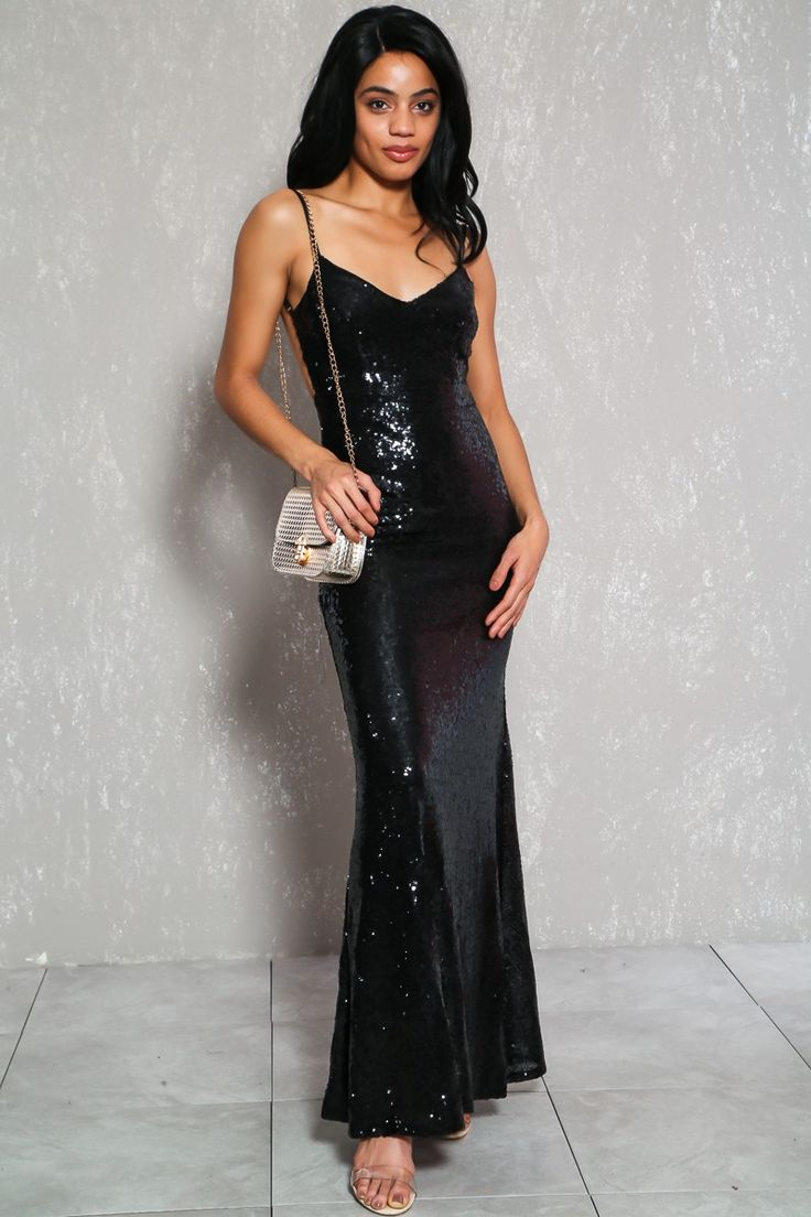 Sexy Black Sequin V-Cut Sleeveless Formal Party Dress