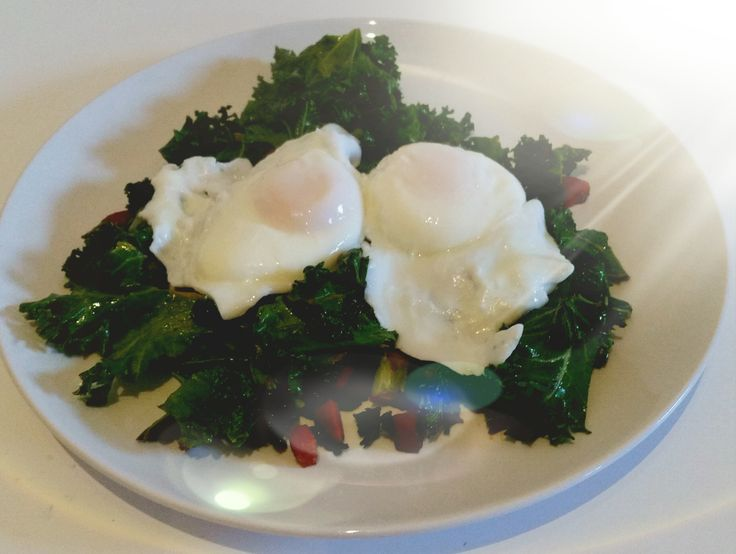 Paleo Breakfast: Kale and Chorizo Stirfry topped with Poached Eggs