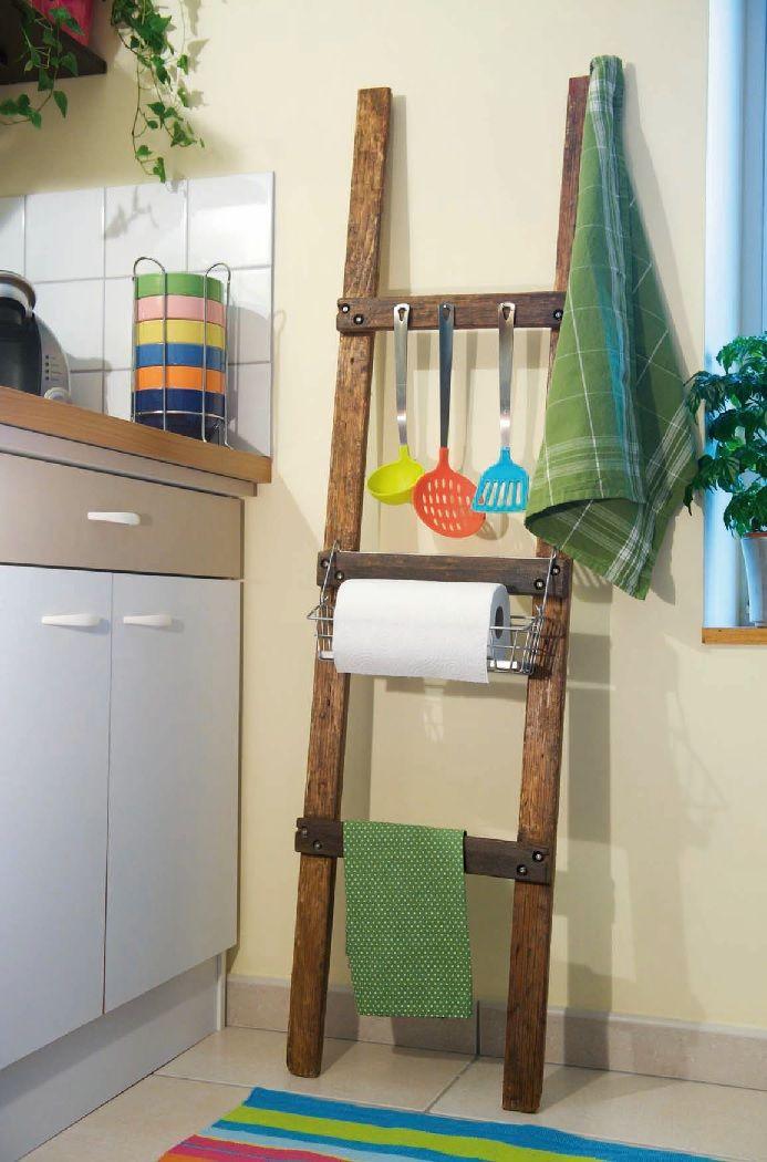Una scala in cucina: il portaoggetti rustico Aggiungete un tocco ...