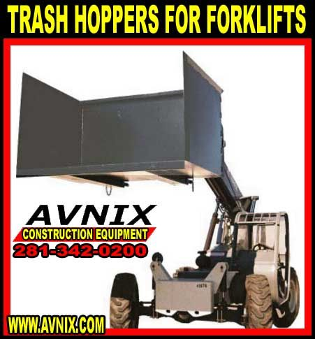 Trash hoppers For Forklifts. When the trash dump hopper is full, forklift picks it up and carries it to the disposal area to dump – simple and convenient!