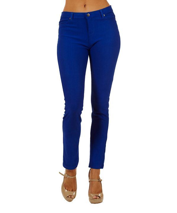 Look at this Royal Blue Skinny Pants on #zulily today!