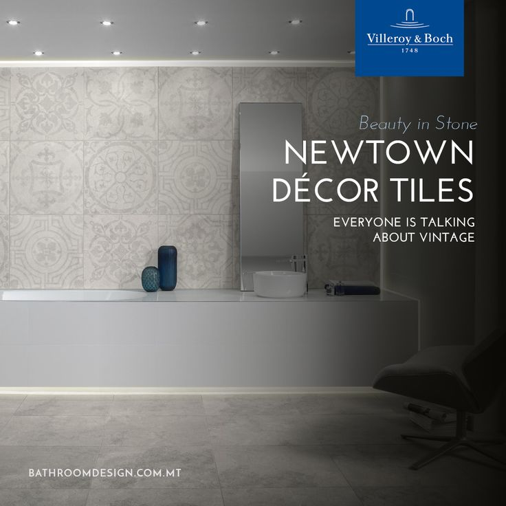 Newtown by Villeroy & Boch  The 60 x 60 cm décor tiles are a premium design highlight of the NEWTOWN range. They are evocative of the former Villeroy & Boch décors from the beginning of the twentieth century. Available in six colours, they depict six decorations. The tiles have a natural touch with beautiful stone structures combined to create innovative finishes.  http://bathroomdesign.com.mt