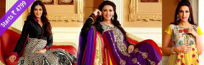 Get Upto 60% off on Sonali Bendre Designer #AnarkaliSuits Only at #Shoppers99. Range starts from 4799/- only.....