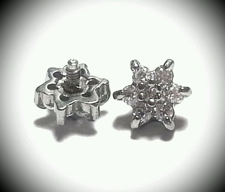 Micro Dermal Body Jewelry Anchor Tops Surgical Steal 14g Prong Flower Clear #ABodyJewelry #ProngFlower