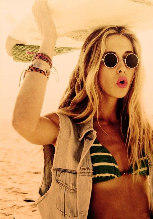 hipster: Beaches Hair, Surfing Girls, Surfing Up, Denim Vest, Ivy, Gillian Zinser, Surfers Girls, Sunglasses, Beaches Style