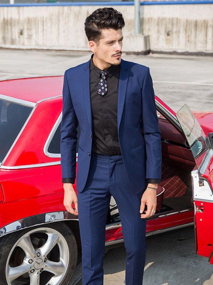 6157de62f7ae de fursac costume pantalon veste homme jules bleu foncé chemise noire