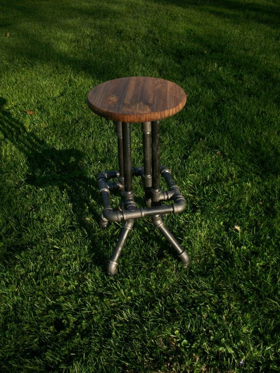 Great for Brad's guitar playing.... Industrial Bar Stool with Round Top by SawdustIndustries on Etsy, $150.00