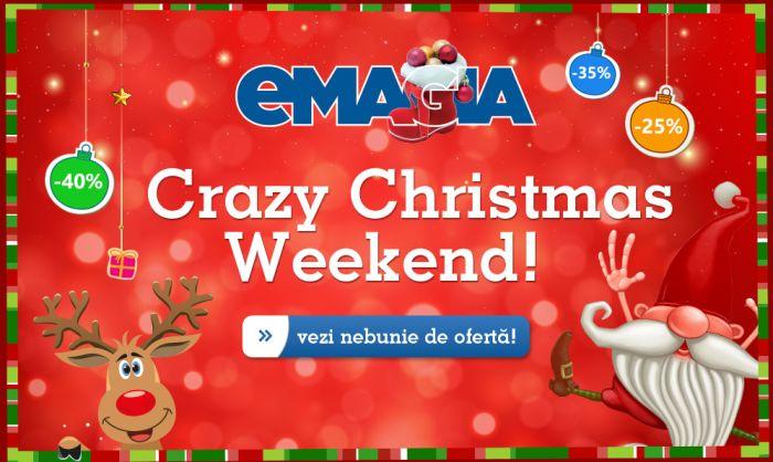 Astazi 19 decembrie, continua nebunia promotiilor, in prag de sarbatori, cu o noua campanie de reduceri: eMAG Crazy Christmas Weekend. Da, eMagia continua..