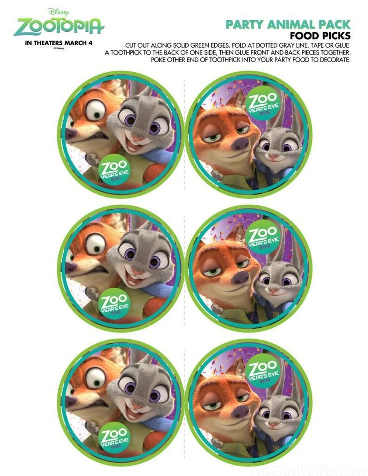 Free Zootopia Party Pack and Holiday Downloads - My No-Guilt Life | My ...