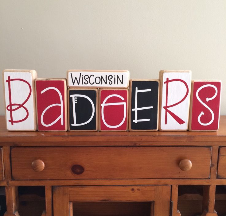University of Wisconsin Badgers Decor Blocks by RuchalskiRustic on Etsy https://www.etsy.com/listing/261787625/university-of-wisconsin-badgers-decor