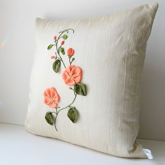 Coral Flowers Pillow Cover
