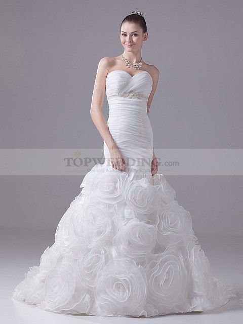 Strapless Sweetheart Mermaid Organza Wedding Gown Features Rosette Skirt