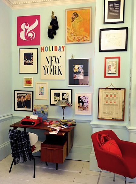 vintage: Decor, Wall Colors, Wall Art, Offices Spaces, Gallery Walls, Gallerywall, Kate Spade, Katespade, Home Offices