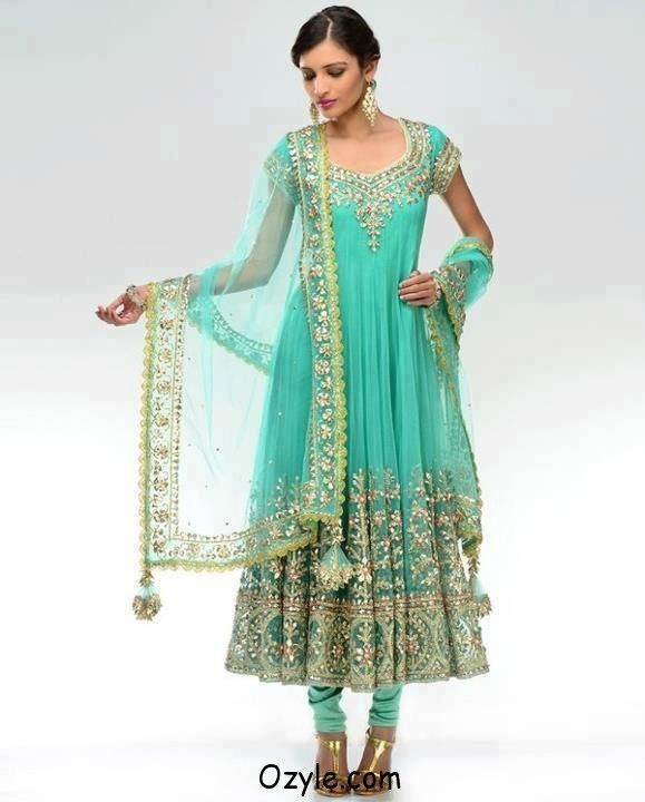 Bridle Lehnga Choli Dress 2013 Sea Blue Net Bridal