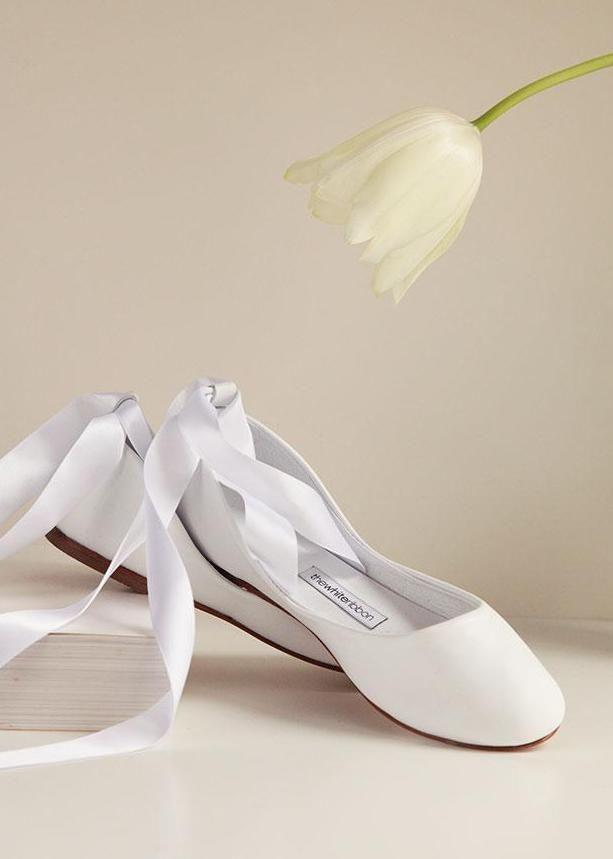 White Swan Bolshoy Bridal Leather Ballet Flats. The perfect wedding shoes 7e7a7a9fec77